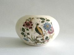 Vintage Purbeck Ceramics Swanage  Round Peacock Flowers by mish73, £6.00
