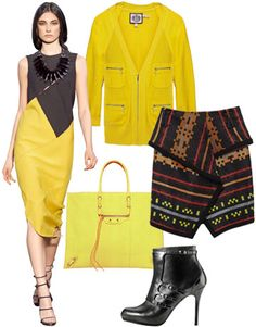 Style Tip: Noir flourishes anchor bright marigold. On the runway at Proenza Schouler; Juicy Couture sweater; Proenza Schouler skirt; Balenciaga by Nicholas Ghesquière bag; Maria Sharapova by Cole Haan bootie.