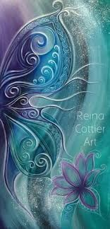 Butterfly Art Print featuring the painting Butterfly Wing With Lotus by Reina Cottier Lotus Kunst, Lotus Art, Butterfly Painting, Butterfly Wings, Lotus Painting, Fine Art Amerika, Maori Art, Fractal Art, Painting Inspiration