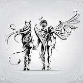 Ангел и демон в орнамент — стоковый вектор