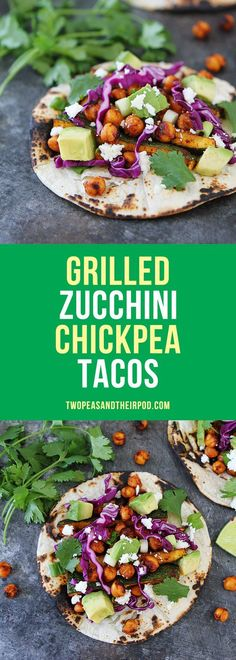 Grilled Zucchini Chickpea Tacos-these easy vegetarian and gluten-free tacos can be on the dinner table in under 30 minutes and make a great summer meal.