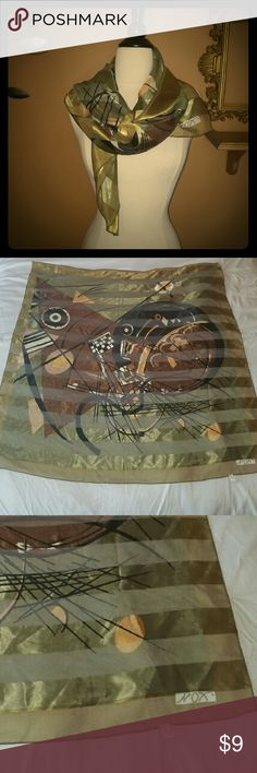 Large green and brown silk square scarf Green striped scarf with brown and black abstract design. Can be worn multiple ways. 100% poly. Approx 39.5 Sq in. Tag says magnolia. Accessories Scarves & Wraps