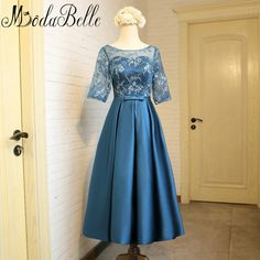 Modabelle Teal Blue Bridesmaid Tea Length Dress Lace Satin Wedding Party Dresses Bridesmaid Dresses Long Maid Of Honor Gowns