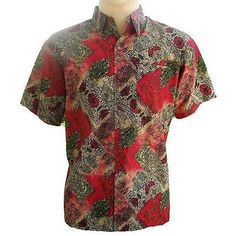 Mens Thai Silk Patterned Shirts - Long or Short Sleeve Casual Paisley Small-XXXL