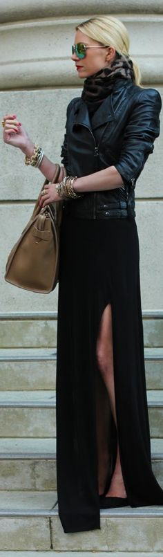 Long slit skirt & leather jacket w/a touch of leopard print CAbi Moto Jacket, Black tneck, scarf and black wide leg pants (Palazzo pant or Super flare)