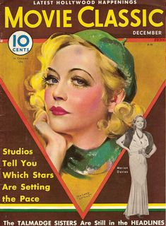 """Marion Davies on the front cover of """"Movie Classic"""" magazine, USA, December 1932."""