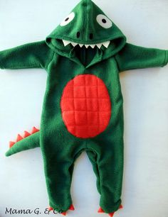 Dinosaur Costume! Self made from fleece fabric. Made just right for your little one :) With special touches
