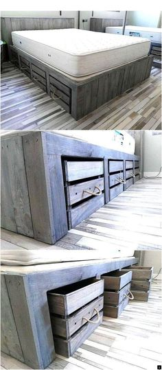 Rustic Look Giant Pallet Bed with Storage - Pallet Bed . Rustic look giant pallet bed with storage Rustic Bedroom Furniture, Diy Furniture, Bedroom Rustic, Diy Bedroom, Furniture Stores, Furniture Design, Luxury Furniture, Furniture Outlet, Furniture Dolly