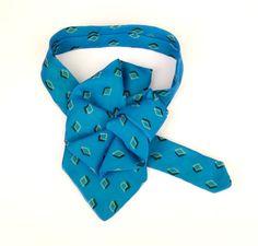 Turquoise Silk Ladies Necktie Scarf, Ladies gift, Alfani Upcycled Silk Tie, OOAK Silk neckpiece, Ascot scarflette collar, Necktie necklace by JudysLittleShop on Etsy