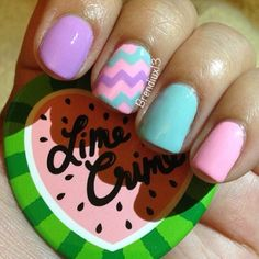 So cute.! A tip to get chevron is to paint tape with your polish then take jagged scissors to cut the chevron.! It will stick in which a top coat.! Isn't that perfect let me know if you try it