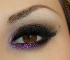 sexy black and purple glitter smokey eye make up #eyes #makeup #eyeshadow.