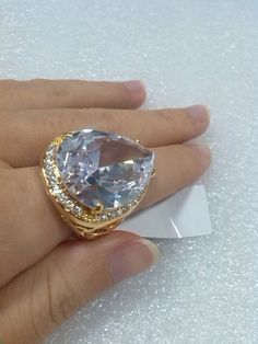 White Swarovski Tear Drop Pear Shaped Rose Gold Plated Big Statement Ring w/ CZ Stones