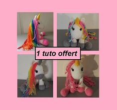 Chat Crochet, Crochet Amigurumi, Unicorn Pattern, Cat Pattern, Dinosaur Stuffed Animal, Crochet Patterns, Toys, Animals, Crochet Hook Sizes
