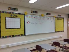 Black and yellow classroom decor with rainbows, Pom poms, banners and posters! #science #middleschooldecor #chicteacher #beehive