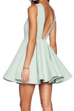 Super Cute! Love this Color! Mint Green Sleeveless V Back Pleated dress