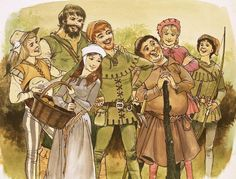 Robin hood had a band of merry men that are almost as famous as him, the consisted of little john, friar tuck, will scarlet, Alan a dale, maid merion. there are many more, hundreds even but the ones that have been named are the most famous.
