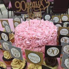 super cute!! 90th birthday in pink, black and gold