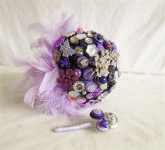 Alice in Wonderland themed Button Bouquet in Purple by I Heart Buttons Bouquets