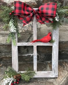 Window Decorations for Christmas : Farmhouse Christmas Decor Christmas Decorated Window Pane Winter Window Pane Decor Christmas Window Frame Rustic Wooden Window PaneHandcrafted, heavy barnwood four pane window frame piece is dressed for the holidays Noel Christmas, Christmas Wreaths, Reindeer Christmas, Christmas Cookies, Christmas Music, Christmas 2019, Christmas Windows, Cardinal Christmas Decor, Christmas Vacation