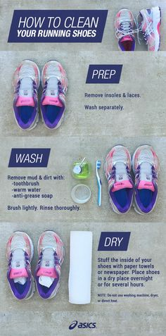 Dirty running shoes? Tips to clean and care for your ASICS. #trailrunningshoes