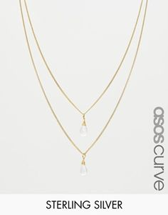ASOS CURVE Gold Plated Sterling Silver Double Drop Necklace