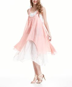 Loving this Simply Couture Light Pink Crochet-Accent Layered Handkerchief Dress on #zulily! #zulilyfinds