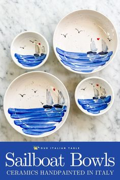 These colorful handpainted ceramic sailboat bowls are inspired by the Ionian Sea. Lovingly made by an artisan in Sicily, these decorative bowls will bring a bit of Italy to your table. Choose from large and small sizes or mix and match. Great for serving snacks, pasta, yogurt, or use these ceramic bowls to hold your keys or jewelry. #colorfulbowl #colorfulbowls #sailboat #sailboatdecor #ceramicbowl #ceramicbowls #handpainted #haindpaintedceramics #artisanmade #madeinitaly #seadecor…