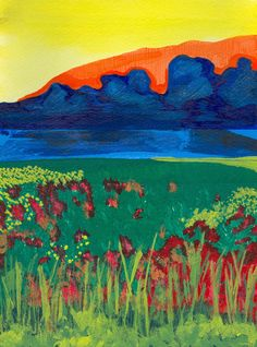 Artist: Mirna el Osta- Nature- mix media #nature #blue #mountains #green #grass #yellow #sky
