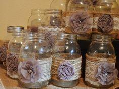 12 Wedding Centerpieces Mason Jar Sleeves Rustic Wedding Decorations Baby Shower Decorations