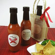 End your soirée with a spicy kick and gift a personalized bottle of hot sauce.