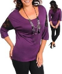 FREE SHIPPING Purple Plus Size Casual Dressy Top Blouse Shirt Tunic XL 2X 3X
