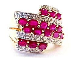 Big Wide Vintage 14k Gold Band Ring Ruby Diamond 9.1/2 (Image1)