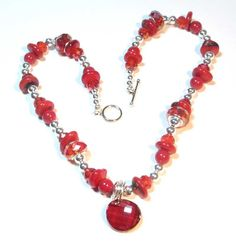Red Valentines Day Necklace - Crystal & Gemstones is part of aquariann's Valentine Shop Hop at http://blog.aquariann.com/2014/01/handmade-shop-valentines-day-gifts.html