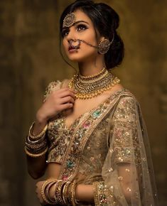 If you are a bride who wants to opt for a designer bridal lehenga for her wedding, then you can shop at ANHAD. Here you can get designer bridal dresses in any color and pattern which combination is perfect for you. Bridal Looks, Bridal Style, Indian Bridal Fashion, Indian Bridal Jewelry, Indian Bridal Hair, Asian Bridal, Braut Make-up, Desi Wedding, Luxury Wedding