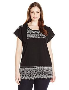 LOOK!! Lucky Brand Women's Plus-Size Embroidered Panel T-Shirt