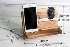 Charging station Apple watch charging station Charging station wood Docking station men Personalized gift for men Office organizer by BigLemur Wooden Phone Holder, Wood Phone Stand, Police Officer Gifts, Docking Station, Charging Stations, Wooden Case, Desk Accessories, Gifts For Father, Iphone