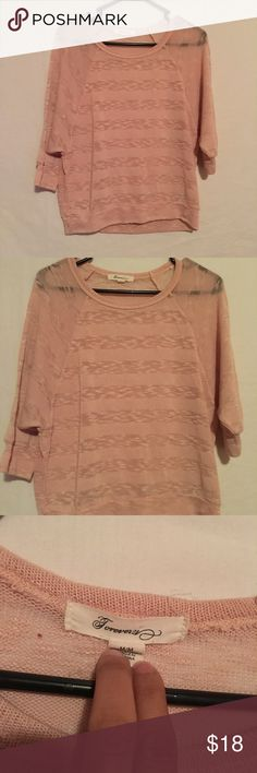 ‼️SALE‼️❤️Forever 21 Sheer Top❤️ Great condition. Color is rose. Size medium. Sheer and knit material. Forever 21 Sweaters Crew & Scoop Necks