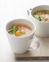 Breakfast Vegetable-Miso Soup with Chickpeas | Martha Stewart Living - Another satisfying soup that's quick to make; you can savor a cup of this soothing chickpea, celery, carrot, and broccoli soup in less than 30 minutes.