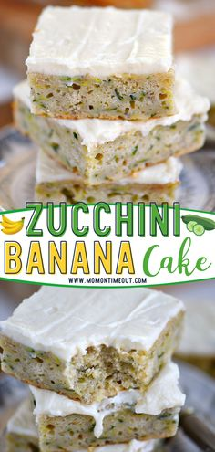 Looking for ways to include a little more veggies in your dessert? Try this easy Zucchini Banana Cake! One bowl and 7 minutes are all you need for this simple recipe. Topped with a cream cheese frosting, this moist summer treat is sure to please kids and adults alike! Köstliche Desserts, Delicious Desserts, Dessert Recipes, Yummy Food, Cake Recipes, Banana Zucchini Cake, Baked Banana, Salty Cake, Pastries