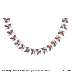 Chic Merry Christmas Red Metallic Silver Party Bunting Flags