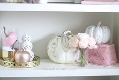 Decorate for fall with blush pink, white and gold accents! home décor; how to decorate for fall. Fall Floral Arrangements, Velvet Pumpkins, Gold Accents, Office Decor, Blush Pink, Affair, Pink White, Fall Decor, Color Schemes
