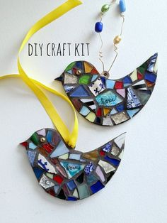 Diy Kits For Adults, Diy Crafts For Adults, Diy Arts And Crafts, Bird Ornaments Diy, Mosaic Kits, Diy Wings, Mosaic Art Projects, Stars Craft, Etsy Crafts