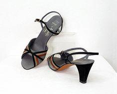 Vintage 1970s High Heel Sandals / 70s Suede by LookAgainVintage