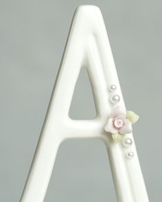 Rose and Pearls Accented Porcelain Monogram Cake Topper - Monogram Wedding Cake Toppers - Cake Toppers Monogram Wedding, Monogram Initials, Wedding Cake Toppers, Wedding Cakes, Marine Cake, Wedding Cake Fresh Flowers, Monogram Cake Toppers, Ivory Pearl, Pearl Color