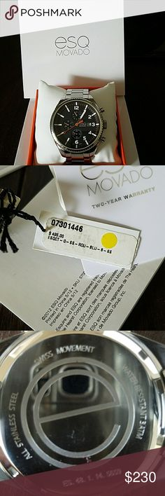 Men's movado ESQ watch A beautiful men's ESQ movado watch, been only worn once, comes with everything. Box, tag, two year warrsnty, booklet, and extra links. This watch is shock resistant and water resistant, also has some decent weight to it. Movado Accessories Watches