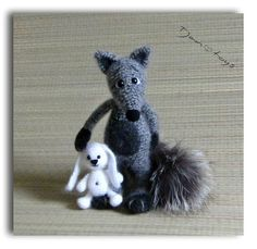 Silver fox with rabbit OOAK Tail of natural fur Crochet Handmade Toy decor Stuffed Animals Amigurumi Made to order