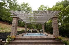terrassenüberdachung ideen freistehend alu backstein säulen whirlpool