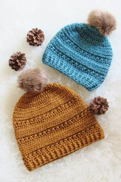 This FREE crochet beanie hat pattern includes sizes Baby, Toddler, Kids , and Woman. You can use this pattern to make a slouchy hat for every girl in your family this winter. The step by step tutorial is detailed enough for advanced beginners. Picot Crochet, Easy Crochet Hat, Crochet Slouchy Hat, Crochet Kids Hats, Crochet Beanie Pattern, Crochet Blanket Patterns, Crochet Baby, Slouch Hats, Crochet Granny