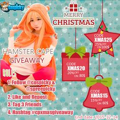 Hi, Friends! Excited to Announce That New Giveaway is Coming !   Prize : Hamster Hoodie    Winner:2 from rafflecopter  Wow Wow! Here's how to win:  1. Follow @cospicky & @spreepicky 2. Repin &Tag 3 Friends 3. End Date: 2015-12-14  Hit The Chance Here:http://goo.gl/DeTULn  Good Luck !  Meanwhile We Have  Christmas Promotion  On Cospicky.com  Codes   Xmas15: 15% Off On 60$ Spend Xmas30: 30% Off On 100$ Spend Xmas80: 80% Off On 250$ Spend  Ends on Dec.14, 2015
