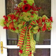 Christmas Mesh CrossChristmas mesh wreath by WreathsEtc on Etsy